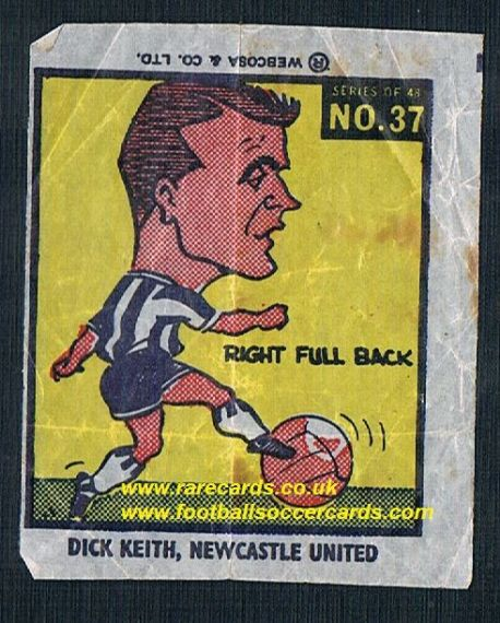 1960 Webcosa Dick Keith newcastle United original wax paper gum insert